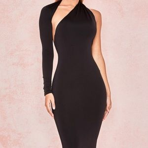 House of CB Black Wrap Sleeve Maxi Dress